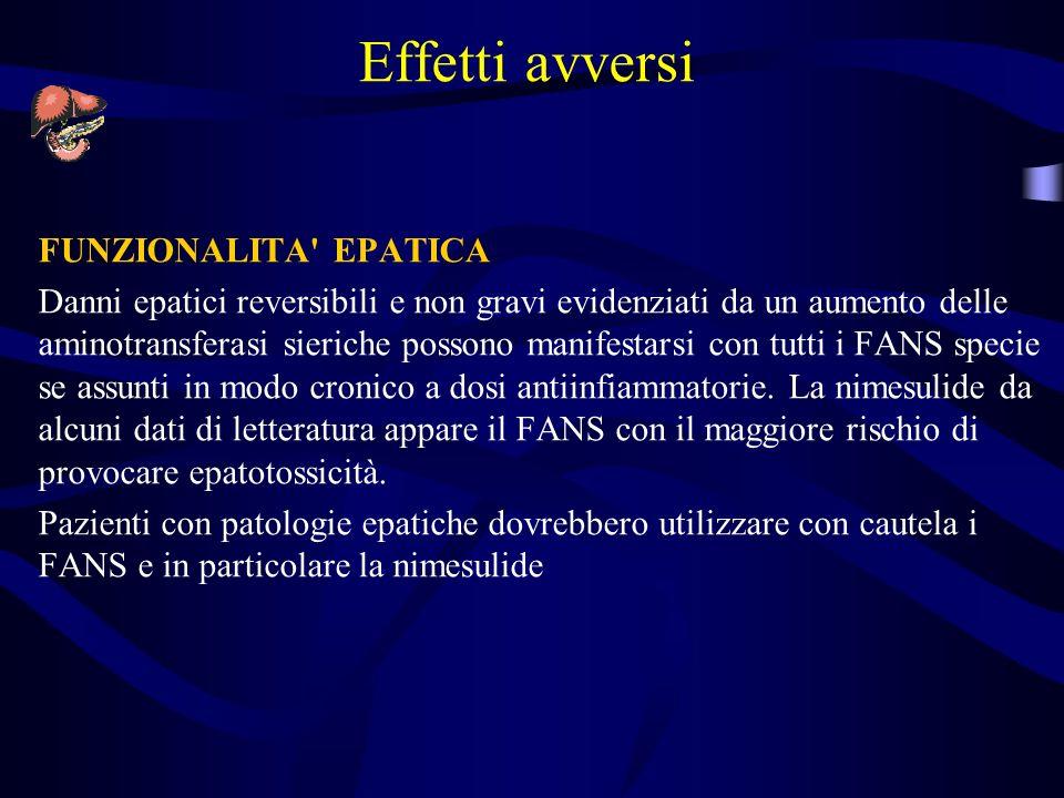 Effetti avversi FUNZIONALITA' EPATICA Danni epatici reversibili e non gravi evidenziati da un aumento delle aminotransferasi sieriche possono manifest