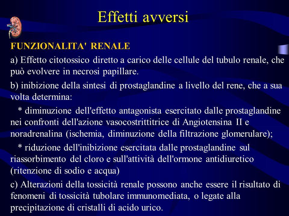 Effetti avversi FUNZIONALITA' RENALE a) Effetto citotossico diretto a carico delle cellule del tubulo renale, che può evolvere in necrosi papillare. b