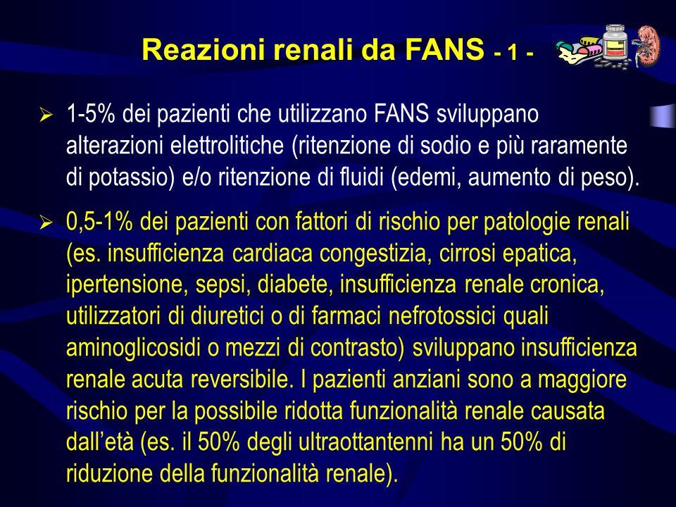 Reazioni renali da FANS - 1 - 1-5% dei pazienti che utilizzano FANS sviluppano alterazioni elettrolitiche (ritenzione di sodio e più raramente di pota
