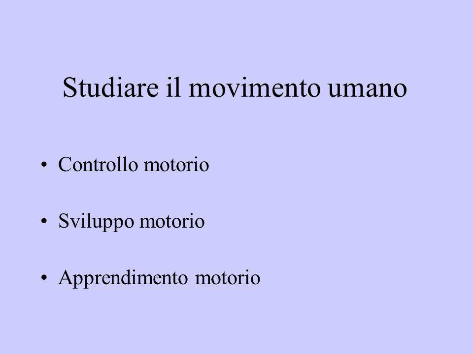 Studiare il movimento umano Controllo motorio Sviluppo motorio Apprendimento motorio