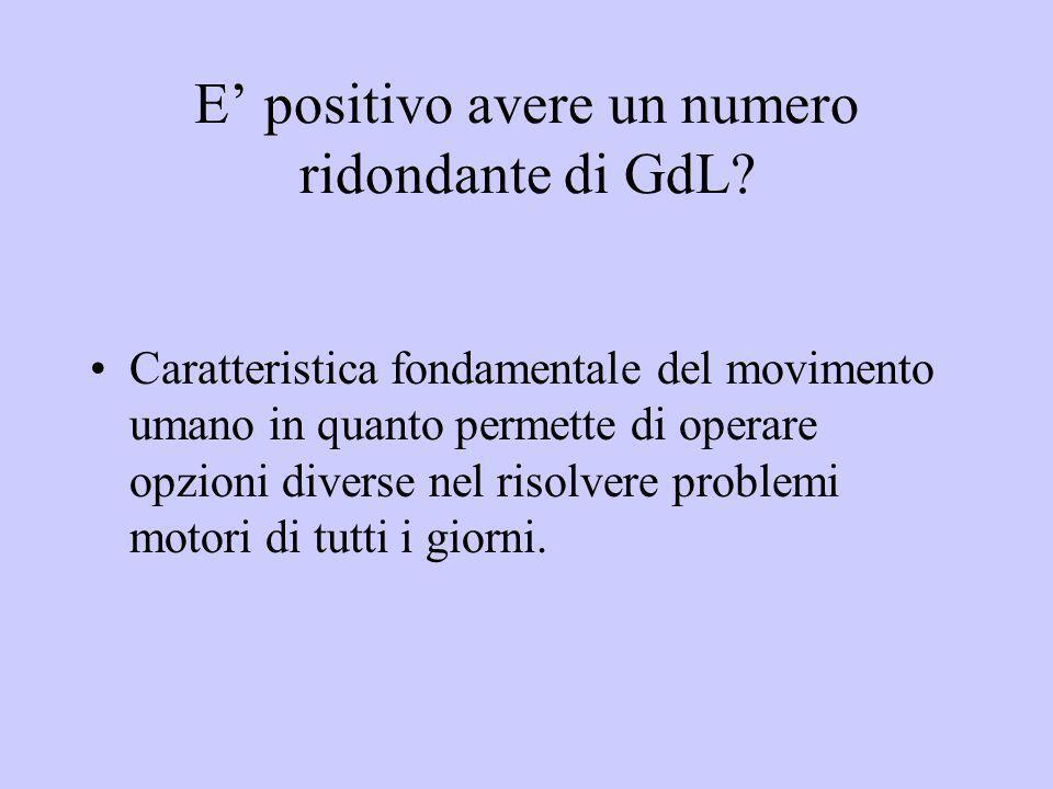 E positivo avere un numero ridondante di GdL? Caratteristica fondamentale del movimento umano in quanto permette di operare opzioni diverse nel risolv