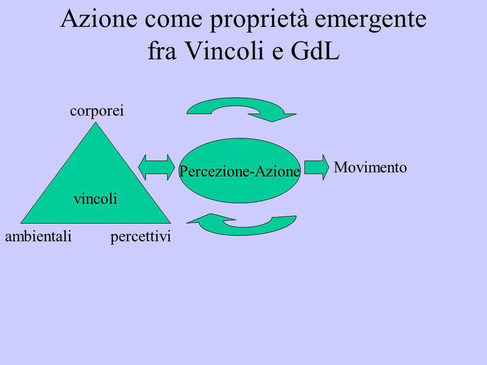 Azione come proprietà emergente fra Vincoli e GdL vincoli corporei ambientalipercettivi Percezione-Azione Movimento