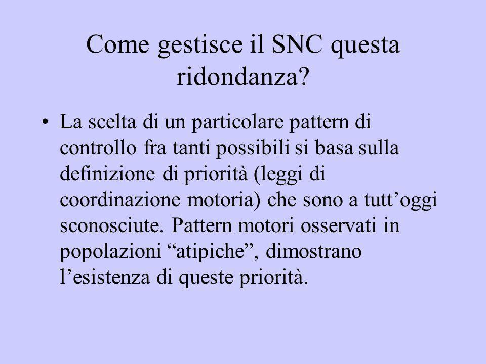 Come gestisce il SNC questa ridondanza? La scelta di un particolare pattern di controllo fra tanti possibili si basa sulla definizione di priorità (le