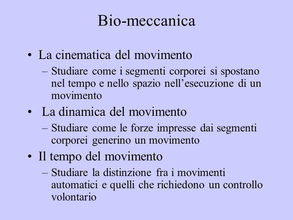Bio-meccanica La cinematica del movimento –Studiare come i segmenti corporei si spostano nel tempo e nello spazio nellesecuzione di un movimento La di