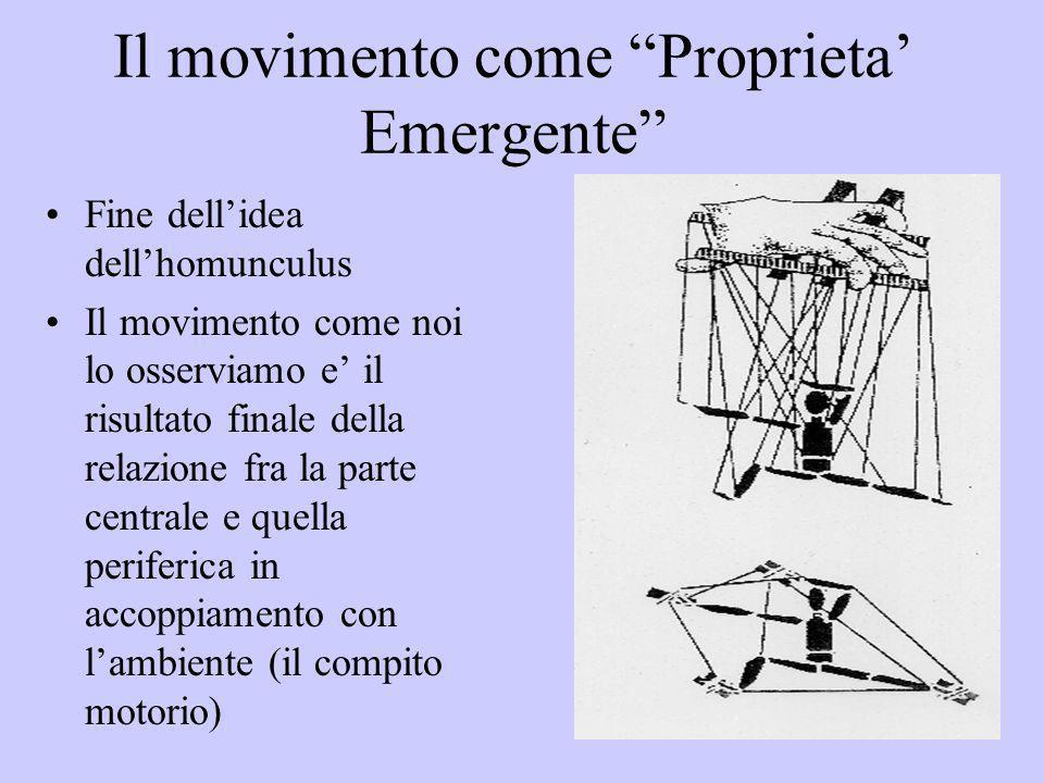 Il movimento come Proprieta Emergente Fine dellidea dellhomunculus Il movimento come noi lo osserviamo e il risultato finale della relazione fra la pa