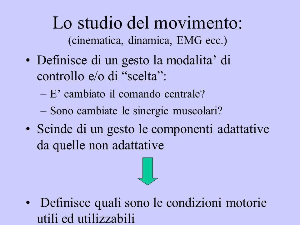 Lo studio del movimento: (cinematica, dinamica, EMG ecc.) Definisce di un gesto la modalita di controllo e/o di scelta: –E cambiato il comando central