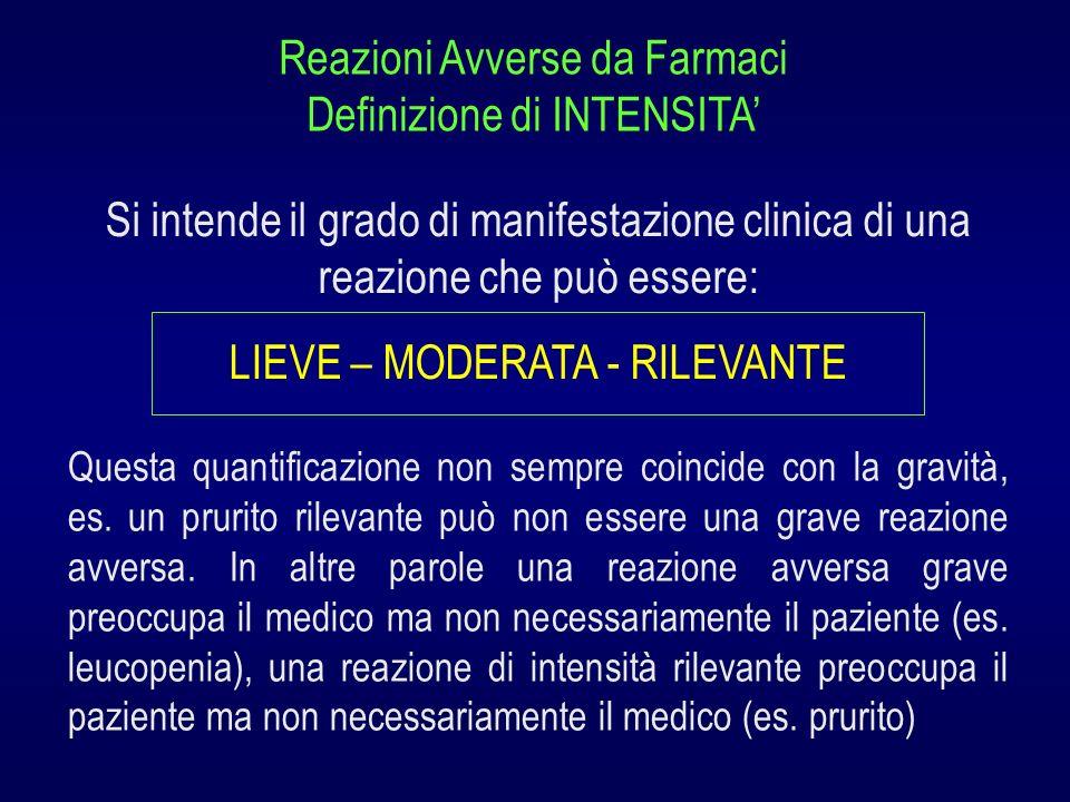 Si intende il grado di manifestazione clinica di una reazione che può essere: LIEVE – MODERATA - RILEVANTE Reazioni Avverse da Farmaci Definizione di