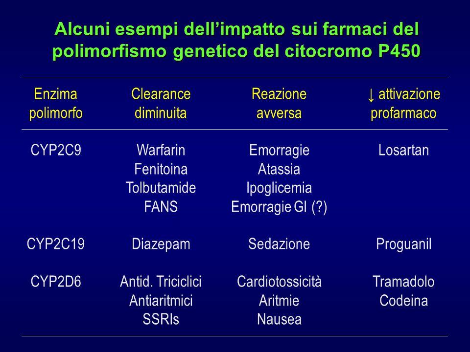 Alcuni esempi dellimpatto sui farmaci del polimorfismo genetico del citocromo P450 Enzima polimorfo CYP2C9 CYP2C19 CYP2D6 Clearance diminuita Warfarin