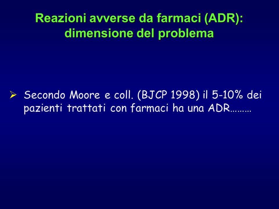 Secondo Moore e coll. (BJCP 1998) il 5-10% dei pazienti trattati con farmaci ha una ADR……… Reazioni avverse da farmaci (ADR): dimensione del problema