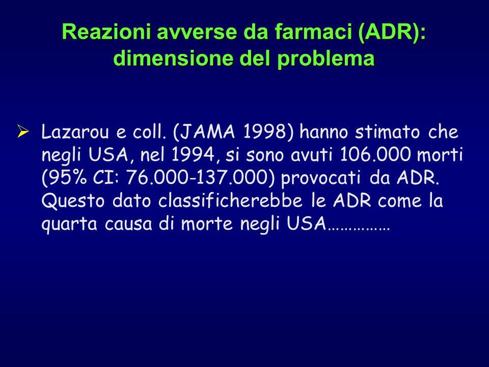 Lazarou e coll. (JAMA 1998) hanno stimato che negli USA, nel 1994, si sono avuti 106.000 morti (95% CI: 76.000-137.000) provocati da ADR. Questo dato
