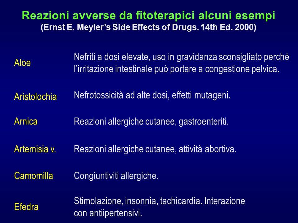 Reazioni avverse da fitoterapici alcuni esempi (Ernst E. Meylers Side Effects of Drugs. 14th Ed. 2000) Aloe Nefriti a dosi elevate, uso in gravidanza