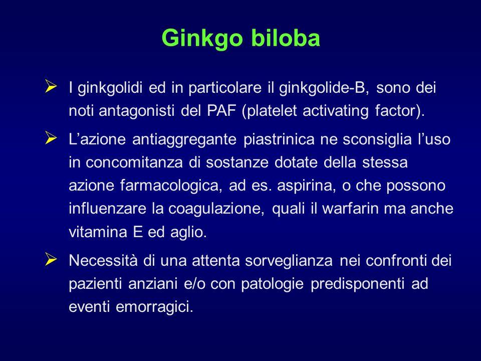 Ginkgo biloba I ginkgolidi ed in particolare il ginkgolide-B, sono dei noti antagonisti del PAF (platelet activating factor). Lazione antiaggregante p