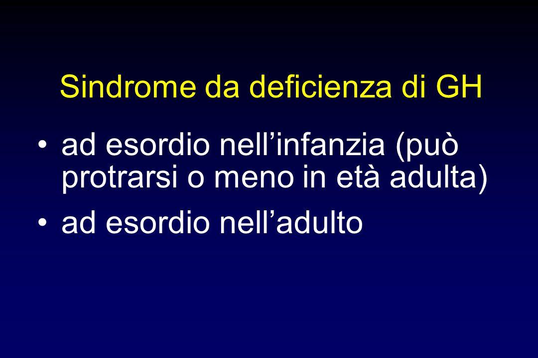 Sindrome da deficienza di GH ad esordio nellinfanzia (può protrarsi o meno in età adulta) ad esordio nelladulto