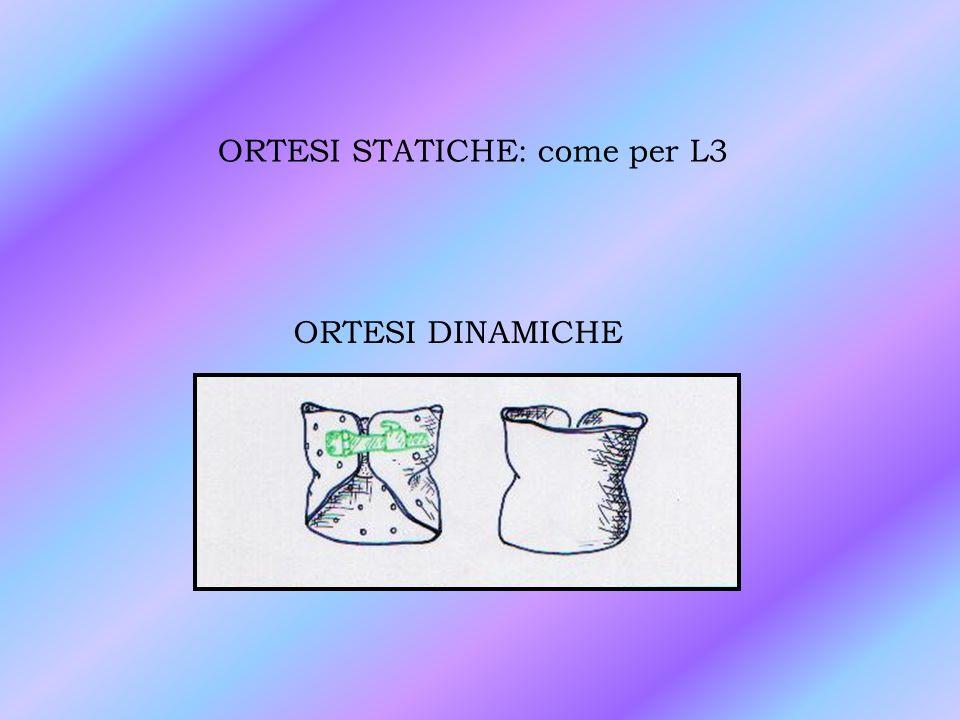 ORTESI STATICHE: come per L3 ORTESI DINAMICHE