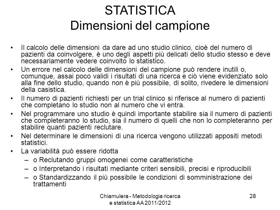 STATISTICA Dimensioni del campione Il calcolo delle dimensioni da dare ad uno studio clinico, cioè del numero di pazienti da coinvolgere, è uno degli