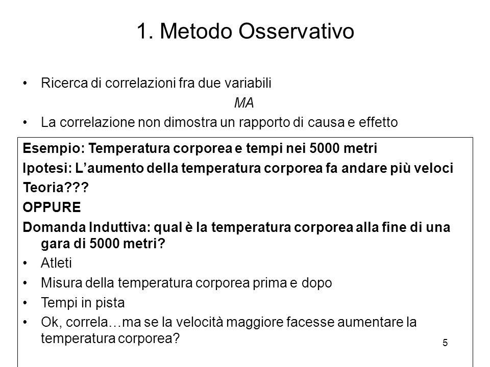 1. Metodo Osservativo Ricerca di correlazioni fra due variabili MA La correlazione non dimostra un rapporto di causa e effetto Esempio: Temperatura co