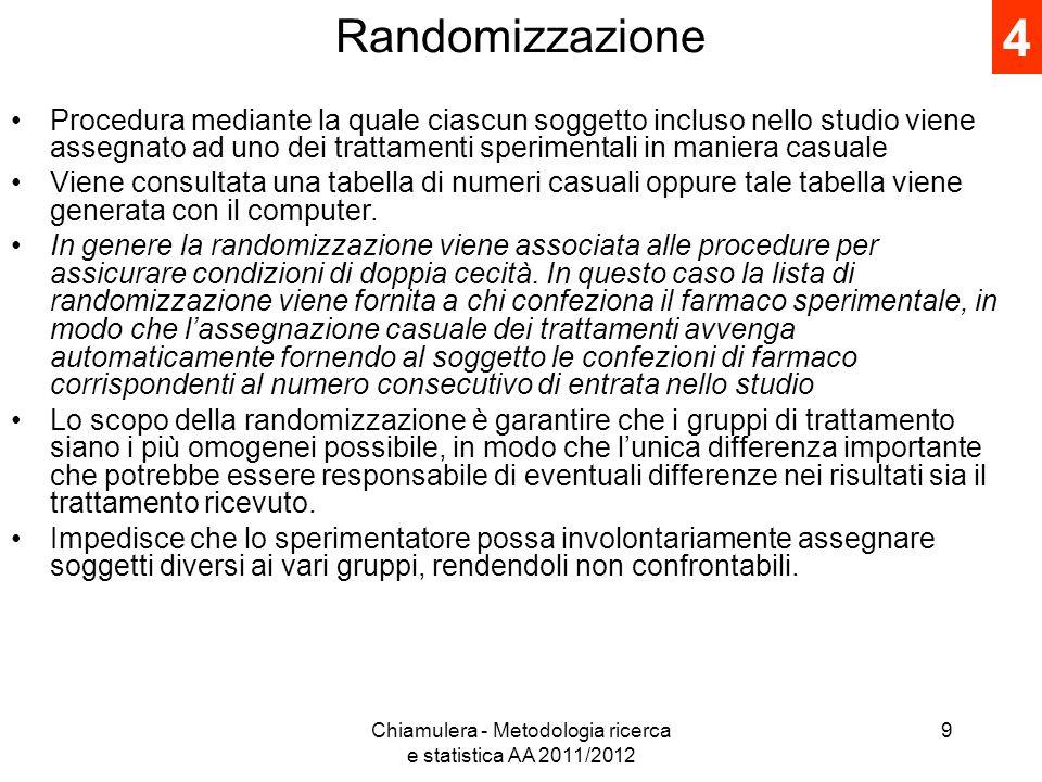 Randomizzazione Procedura mediante la quale ciascun soggetto incluso nello studio viene assegnato ad uno dei trattamenti sperimentali in maniera casua