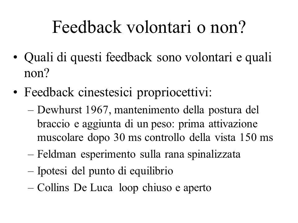 Feedback volontari o non? Quali di questi feedback sono volontari e quali non? Feedback cinestesici propriocettivi: –Dewhurst 1967, mantenimento della