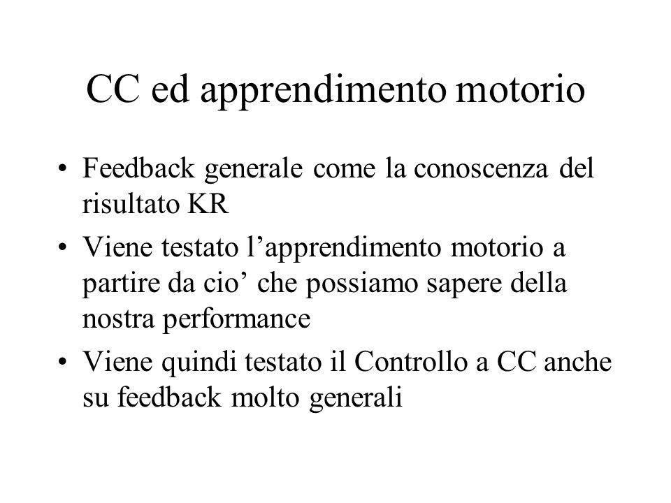 CC ed apprendimento motorio Feedback generale come la conoscenza del risultato KR Viene testato lapprendimento motorio a partire da cio che possiamo s