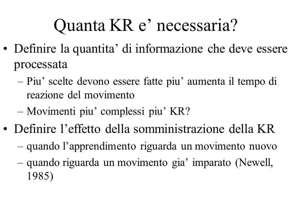 Quanta KR e necessaria? Definire la quantita di informazione che deve essere processata –Piu scelte devono essere fatte piu aumenta il tempo di reazio