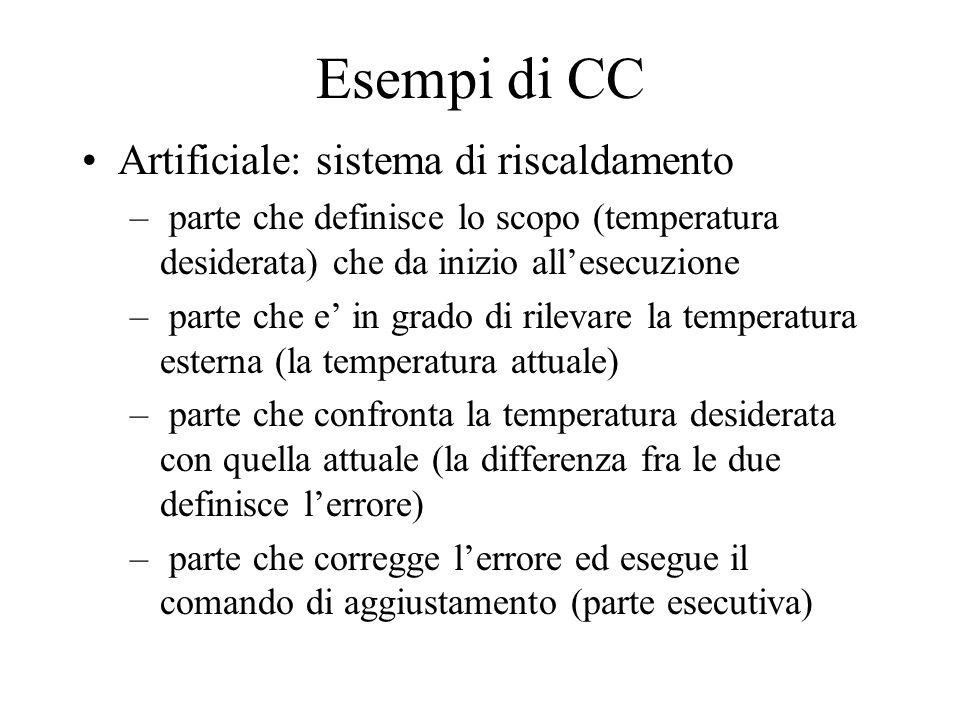 Esempi di CC Artificiale: sistema di riscaldamento – parte che definisce lo scopo (temperatura desiderata) che da inizio allesecuzione – parte che e i