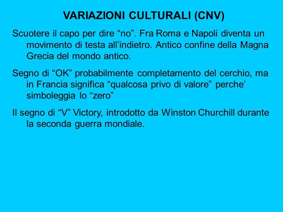 VARIAZIONI CULTURALI (CNV) Scuotere il capo per dire no.