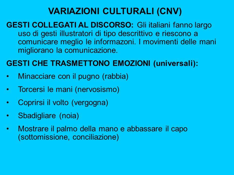 VARIAZIONI CULTURALI (CNV) GESTI COLLEGATI AL DISCORSO: Gli italiani fanno largo uso di gesti illustratori di tipo descrittivo e riescono a comunicare meglio le informazoni.