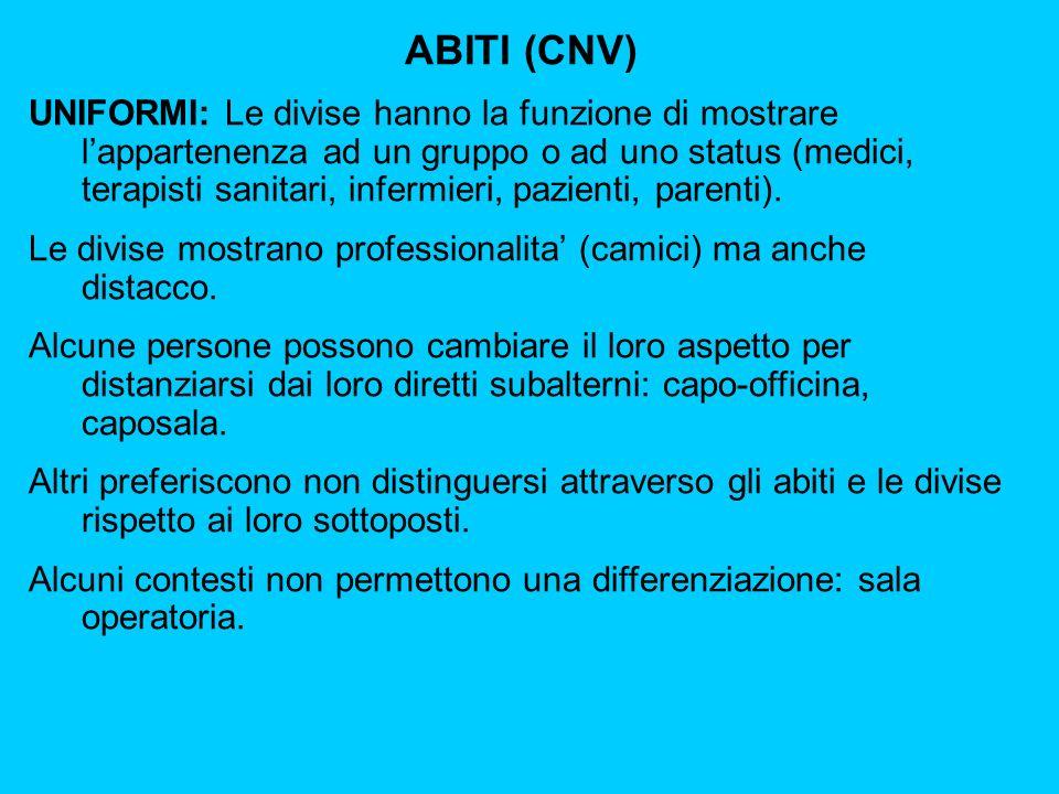 ABITI (CNV) UNIFORMI: Le divise hanno la funzione di mostrare lappartenenza ad un gruppo o ad uno status (medici, terapisti sanitari, infermieri, pazienti, parenti).