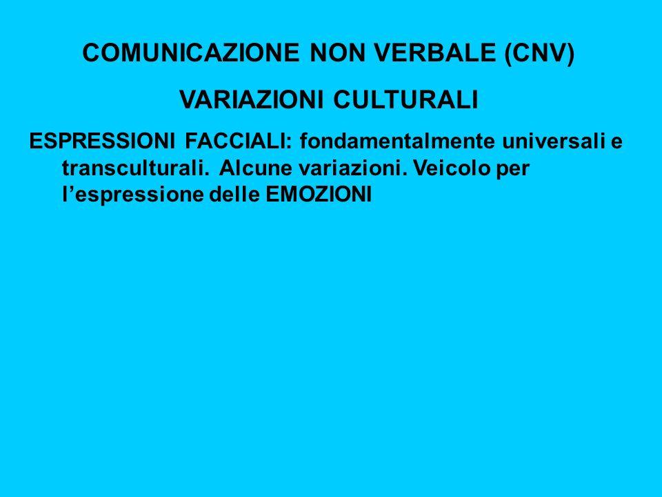 COMUNICAZIONE NON VERBALE (CNV) VARIAZIONI CULTURALI ESPRESSIONI FACCIALI: fondamentalmente universali e transculturali.