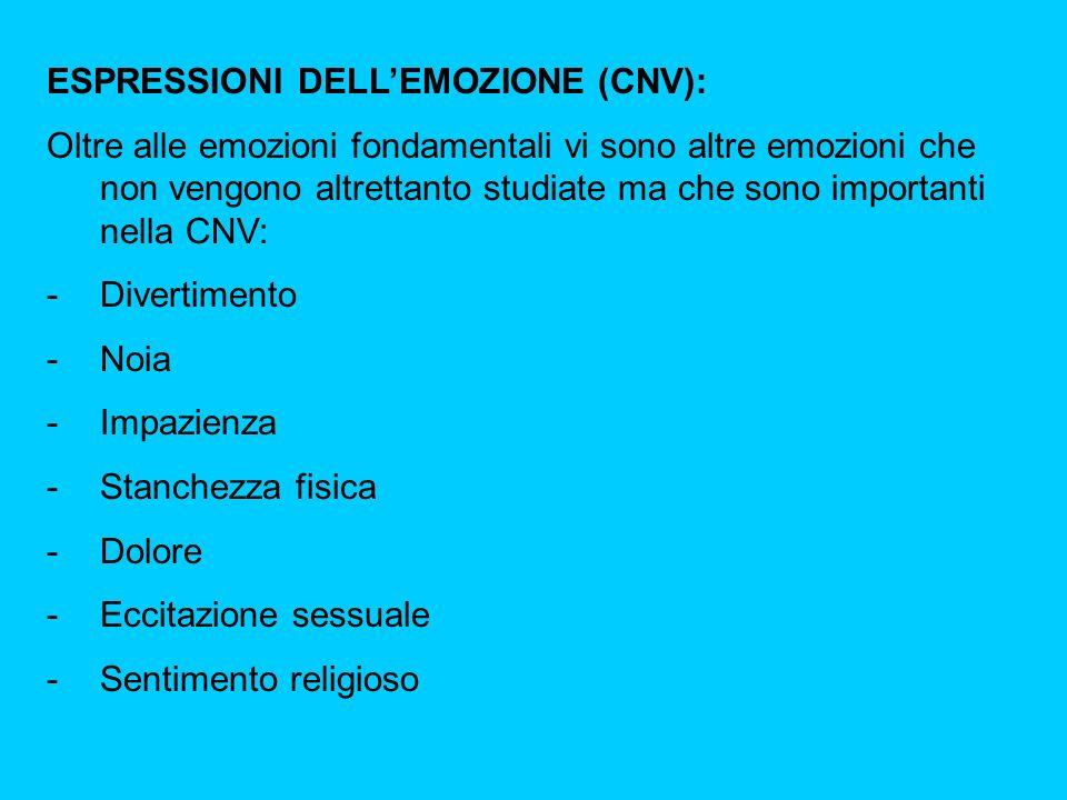 ESPRESSIONI DELLEMOZIONE (CNV): Oltre alle emozioni fondamentali vi sono altre emozioni che non vengono altrettanto studiate ma che sono importanti nella CNV: -Divertimento -Noia -Impazienza -Stanchezza fisica -Dolore -Eccitazione sessuale -Sentimento religioso