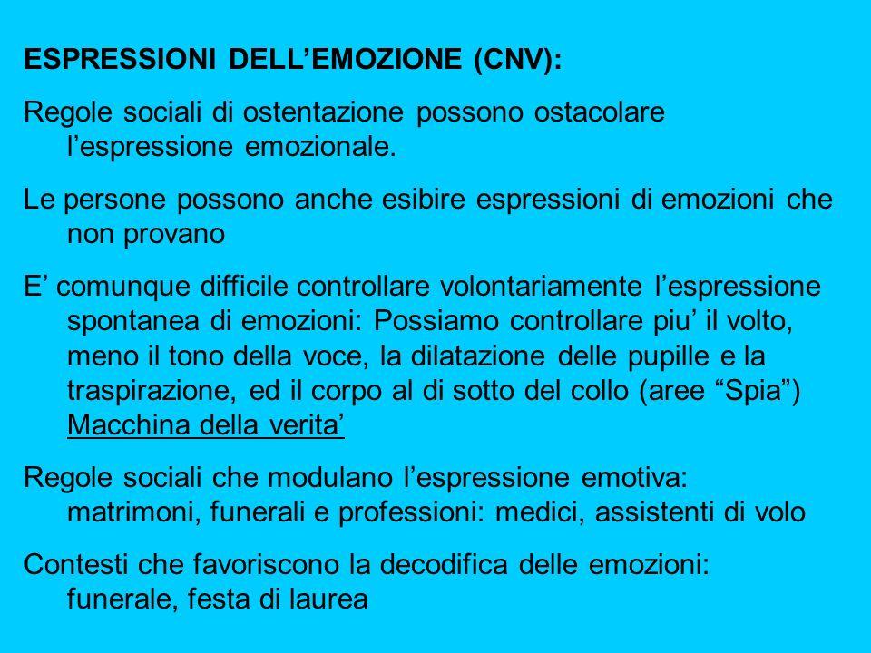 ESPRESSIONI DELLEMOZIONE (CNV): Regole sociali di ostentazione possono ostacolare lespressione emozionale.
