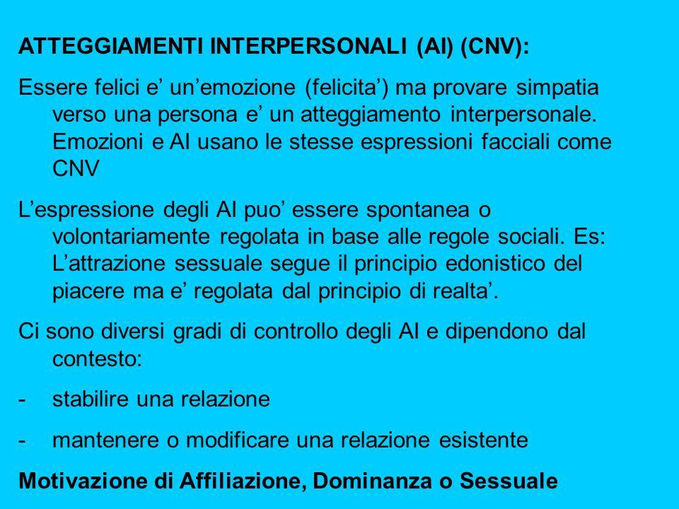 ATTEGGIAMENTI INTERPERSONALI (AI) (CNV): Essere felici e unemozione (felicita) ma provare simpatia verso una persona e un atteggiamento interpersonale.