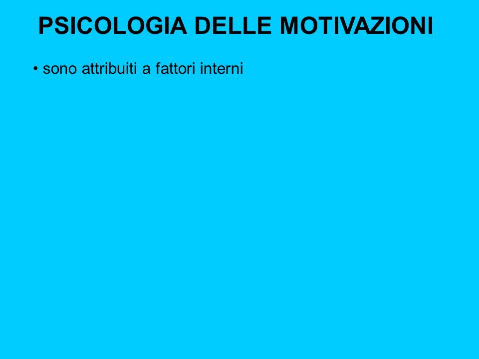 PSICOLOGIA DELLE MOTIVAZIONI sono attribuiti a fattori interni