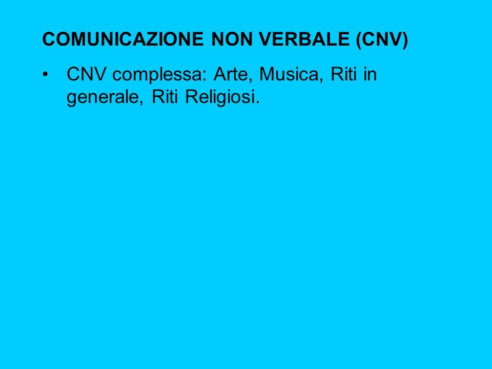 COMUNICAZIONE NON VERBALE (CNV) CNV complessa: Arte, Musica, Riti in generale, Riti Religiosi.