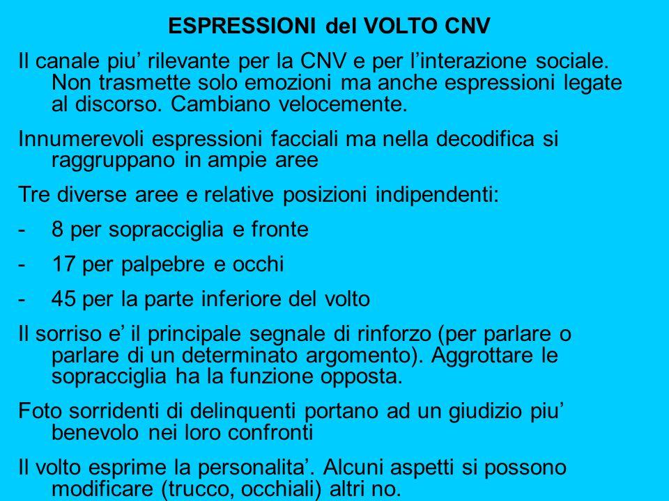 ESPRESSIONI del VOLTO CNV Il canale piu rilevante per la CNV e per linterazione sociale.