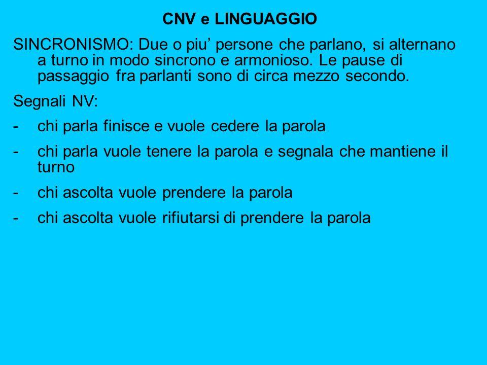 CNV e LINGUAGGIO SINCRONISMO: Due o piu persone che parlano, si alternano a turno in modo sincrono e armonioso.