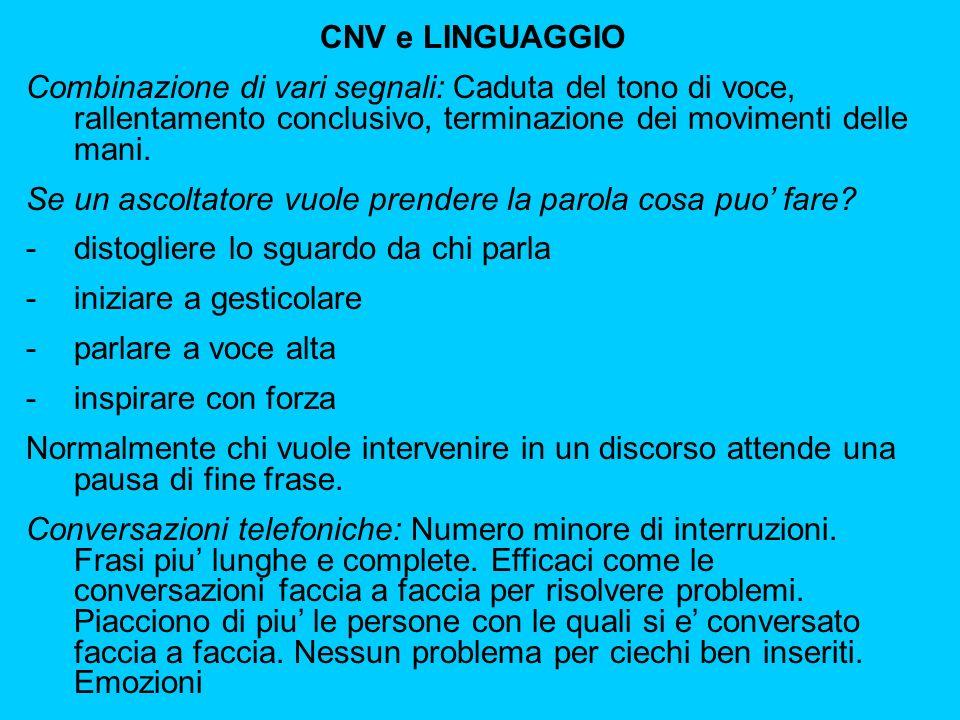 CNV e LINGUAGGIO Combinazione di vari segnali: Caduta del tono di voce, rallentamento conclusivo, terminazione dei movimenti delle mani.
