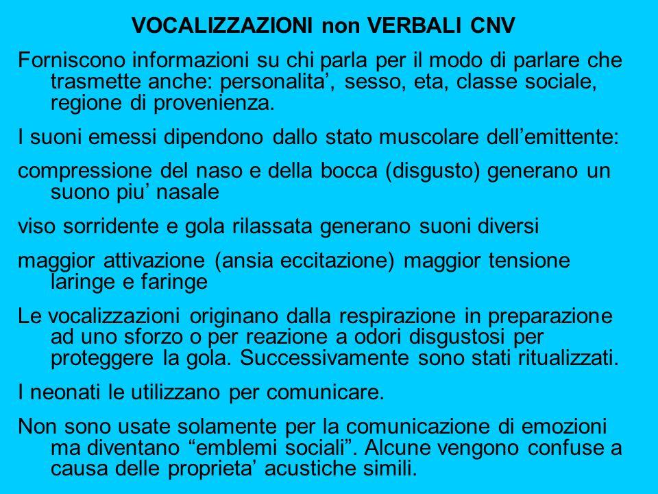 VOCALIZZAZIONI non VERBALI CNV Forniscono informazioni su chi parla per il modo di parlare che trasmette anche: personalita, sesso, eta, classe sociale, regione di provenienza.