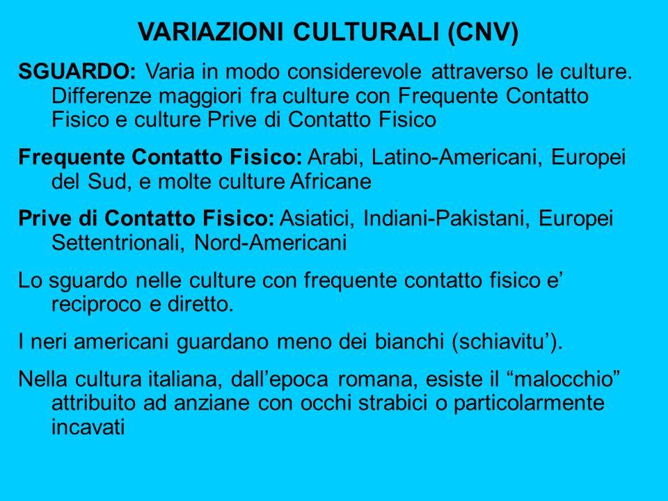 VARIAZIONI CULTURALI (CNV) SGUARDO: Varia in modo considerevole attraverso le culture.