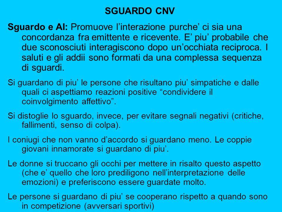 SGUARDO CNV Sguardo e AI: Promuove linterazione purche ci sia una concordanza fra emittente e ricevente.