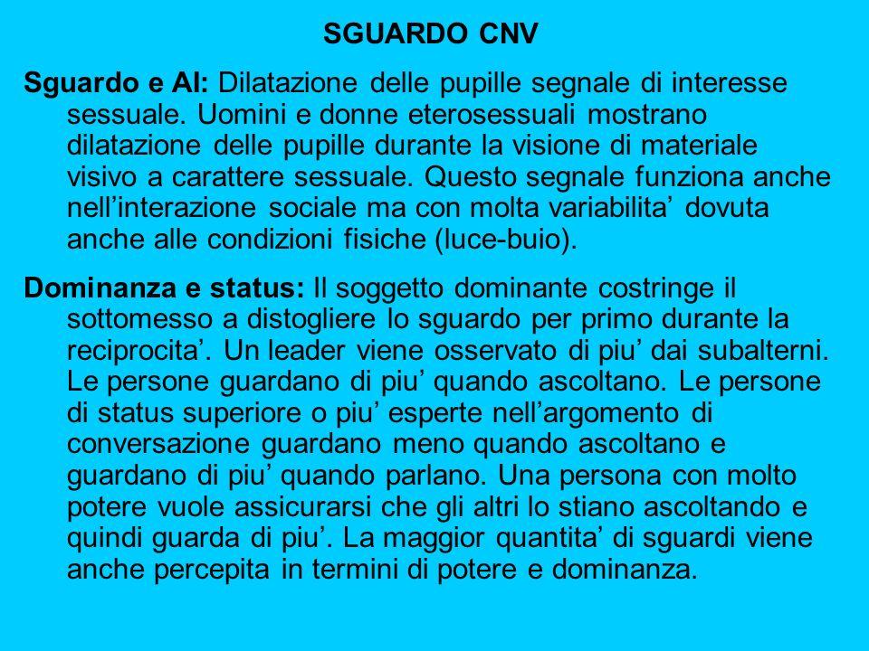 SGUARDO CNV Sguardo e AI: Dilatazione delle pupille segnale di interesse sessuale.