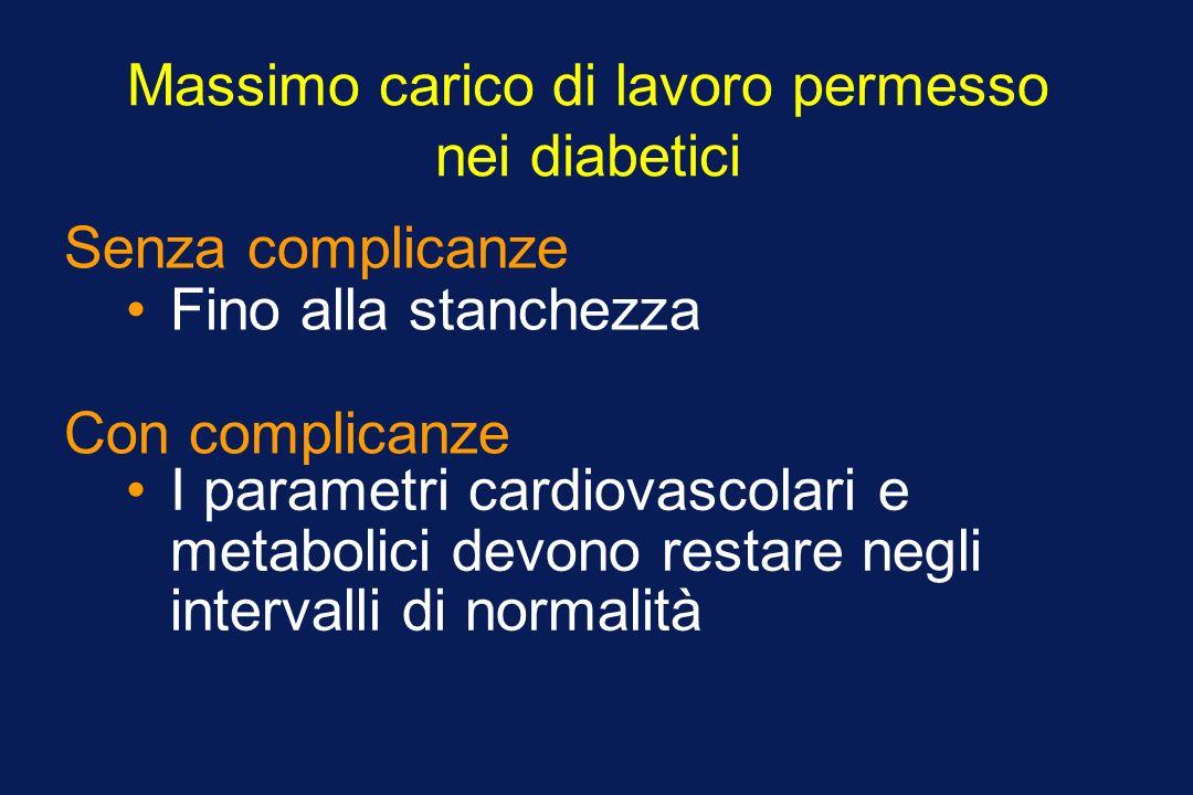 Massimo carico di lavoro permesso nei diabetici Fino alla stanchezza Senza complicanze I parametri cardiovascolari e metabolici devono restare negli i