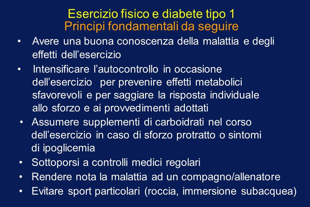 Esercizio fisico e diabete tipo 1 Principi fondamentali da seguire Avere una buona conoscenza della malattia e degli effetti dellesercizio Intensifica