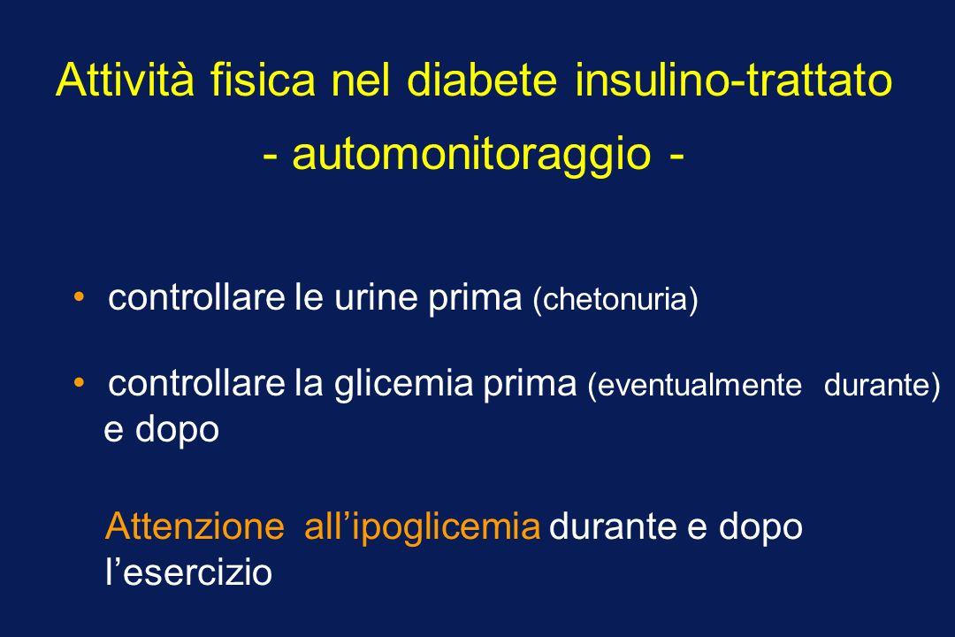 Attività fisica nel diabete insulino-trattato - automonitoraggio - controllare le urine prima (chetonuria) controllare la glicemia prima (eventualment