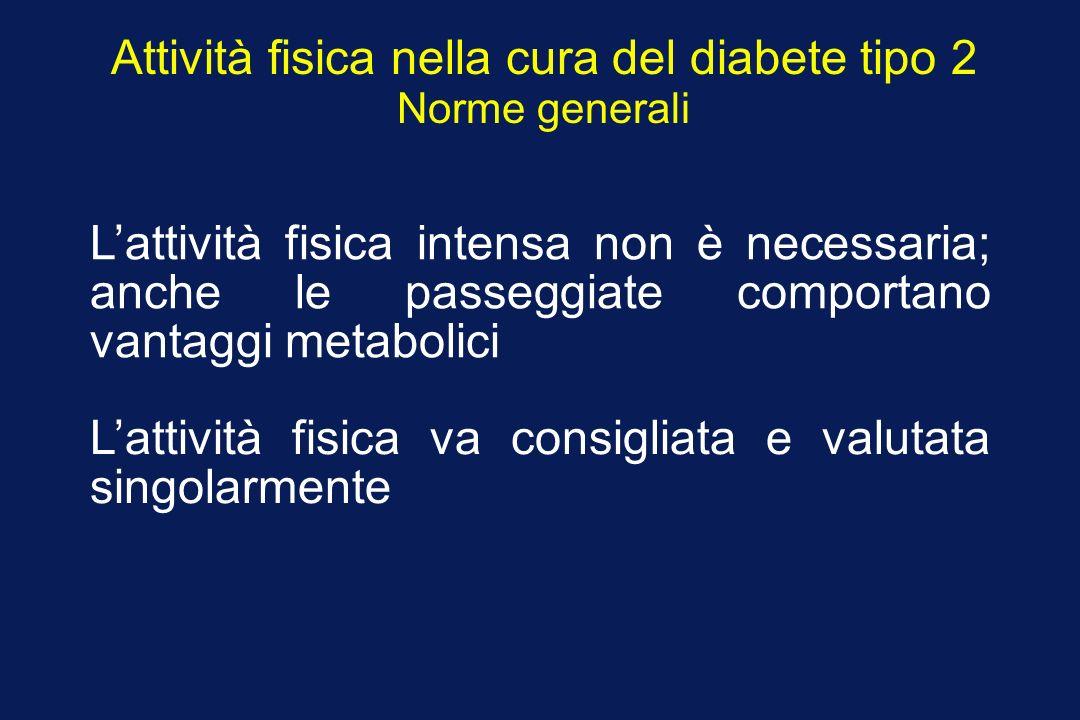 Attività fisica nella cura del diabete tipo 2 Norme generali Lattività fisica intensa non è necessaria; anche le passeggiate comportano vantaggi metab