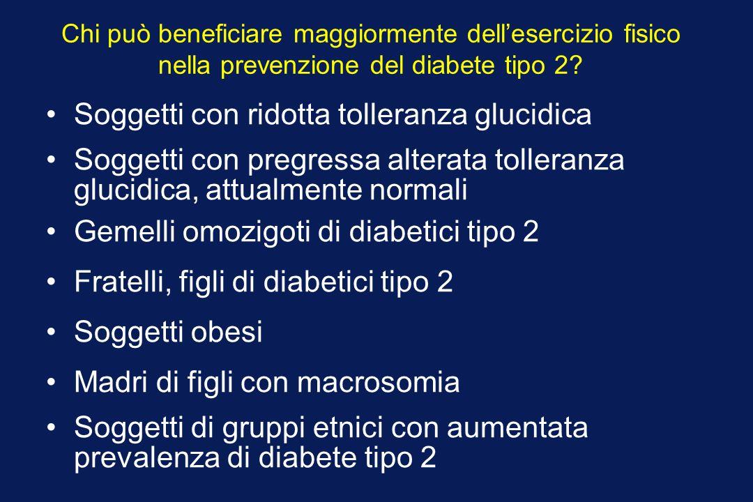 Chi può beneficiare maggiormente dellesercizio fisico nella prevenzione del diabete tipo 2? Soggetti con ridotta tolleranza glucidica Soggetti con pre