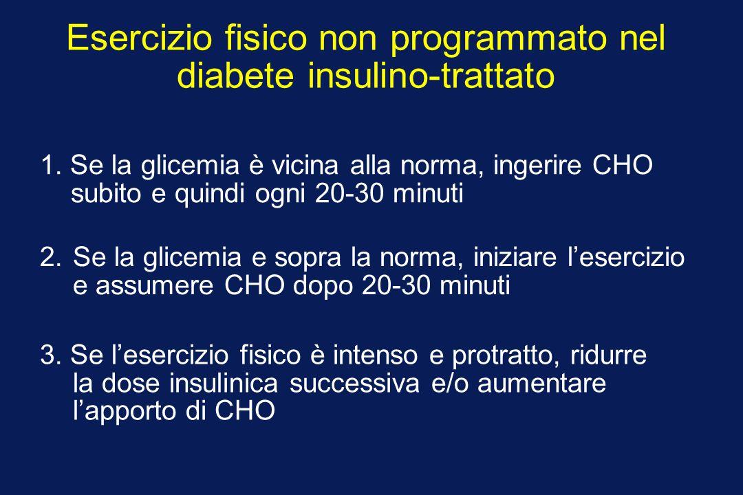 Esercizio fisico non programmato nel diabete insulino-trattato 2.Se la glicemia e sopra la norma, iniziare lesercizio e assumere CHO dopo 20-30 minuti 3.