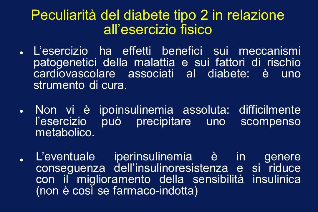 Peculiarità del diabete tipo 2 in relazione allesercizio fisico Lesercizio ha effetti benefici sui meccanismi patogenetici della malattia e sui fattori di rischio cardiovascolare associati al diabete: è uno strumento di cura.