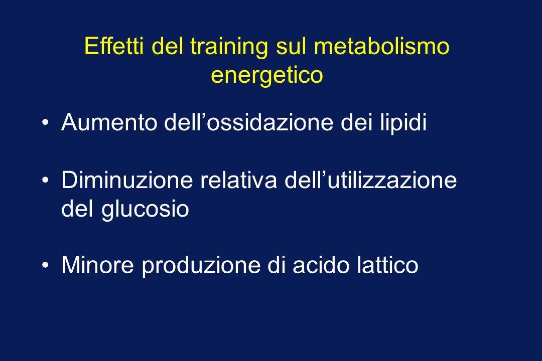 Effetti del training sul metabolismo energetico Aumento dellossidazione dei lipidi Diminuzione relativa dellutilizzazione del glucosio Minore produzione di acido lattico