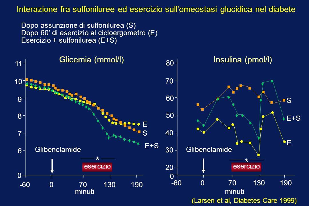 -60 0 70 130 190 0 6 7 9 10 11 8 esercizio Glibenclamide * S E 0 -60 0 70 130 190 30 40 60 70 80 20 50 esercizio * Glibenclamide E+S E+S E S Glicemia (mmol/l)Insulina (pmol/l) minuti (Larsen et al, Diabetes Care 1999) Interazione fra sulfoniluree ed esercizio sullomeostasi glucidica nel diabete Dopo assunzione di sulfonilurea (S) Dopo 60 di esercizio al cicloergometro (E) Esercizio + sulfonilurea (E+S)